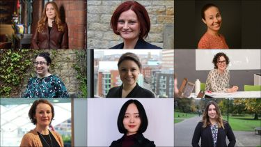 A collage featuring headshots of female staff from the Department of Politics and International Relations