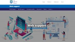 A screenshot of the new web support homepage (new CMS)