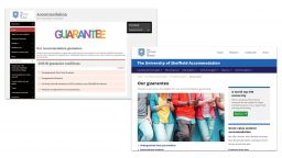 Screenshots of the 'Our guarantee' page before and after.