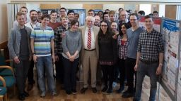 Professor Sir Fraser Stoddart with students in the Department of Chemistry.