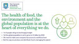 Graphic which has typed on it ' the health of food, the environment and the global population is at the heart of everything we do.'