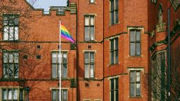 Pride flag flying outside Firth Court